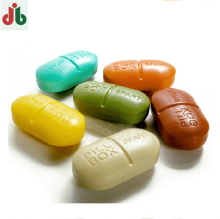OEM custom made medical grade mini small pill shaped six portions fancy plastic travel pill box