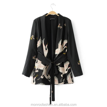 monroo Fashion Women Red Crowned Crane printing Kimono style jacket Casual Long sleeve Coat Vintage Knotted belt Loose Tops