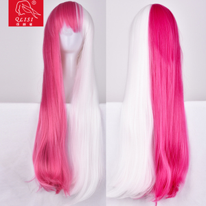 New Fashion Synthetic Hair Wig Half Pink and Half White Hair
