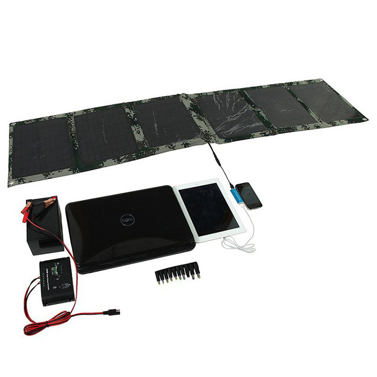60w 18v/5v Dual output waterproof outdoor foldable folding solar panel charger external 12v battery device charger