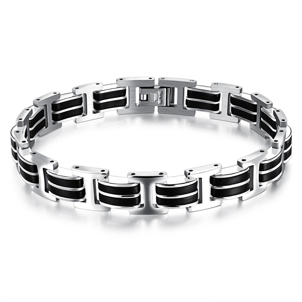 Punk rock black and silver stainless steel bicycle chain link wrist bracelet <strong>accessories</strong>