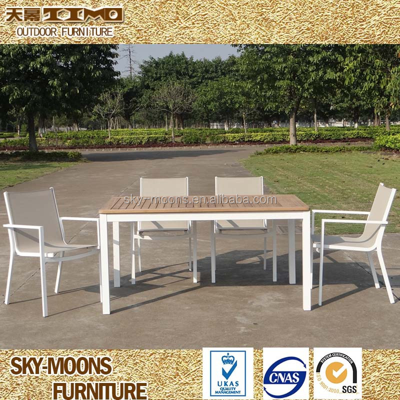 Coated Aluminum dining table and chair, Ferrari Batyline Sling Fabric chair with teak wood table(TS-C001)