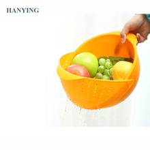 Multifunction Plastic Kitchen Drain Basket Steamer Rice Washing Vegetables Fruit Baskets Wash Bowl and Colander