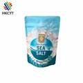 Food grade 2 layers coated 400g new zealand fine sea salt doypack pouch with top zipper