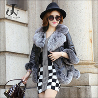 China Supplier Fashion Seven Sleeves Duck Down Jacket with Fox Fur Collar Sheep Leather Coat