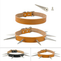 Cool spiked real leather pet dog heavy dog collar, leather dog collar