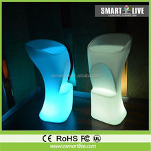 Best selling lighted waterproof 16 color changing remote control led glowing bar stool for coffee shop
