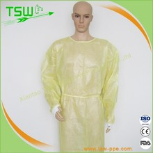 Surgical supply/disposable yellow PP non-woven isolation gown with knitted cuff and waist tapes