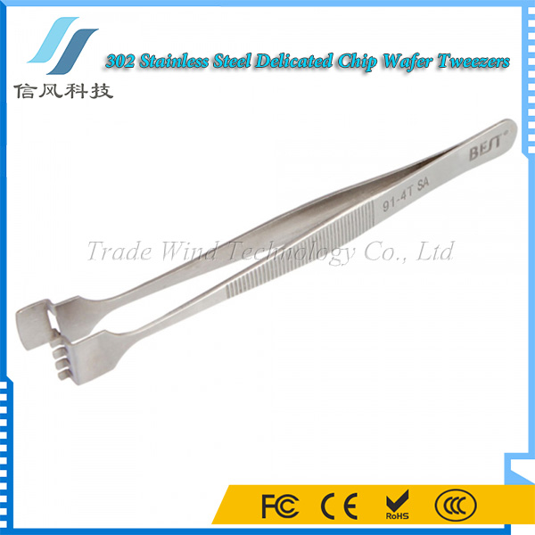 BEST-91-4T SA Non-slip Delicated Chip Wafer Tweezers 302 Stainless Steel Tweezers Tools