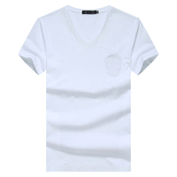 Free Shipping High Quality Men's plain white bulk V-neck 100% Cotton t shirt M-3XL