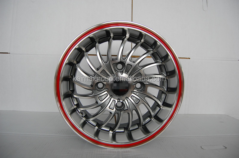 KM038 13*6.0j PCD= 4*112 car alloy wheel rims with red lip