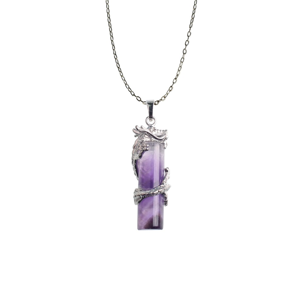 Amethyst Cylinder Dragon Warpped Healing Point Reki Gemstone Pendant Silver Finding