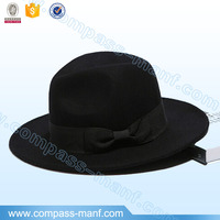 Stylish Wool Blend Gangster Fedora Hat Ribbon Bow Trim