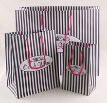Fashion Black and white striped paper bag