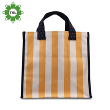 Hot Selling Stripe Canvas Beach Tote Bag Wholesale Customerized Shopping Canvas Bag