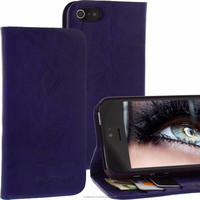 Geniune Leather Lucca Bookstyle case for iPhone 5S / 5 Washed Purple Cow Leather