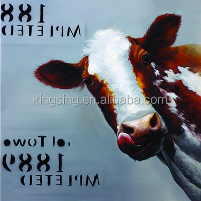 Abstract Africa animal Oil painting cow handmade canvas painting for home wall Decoration