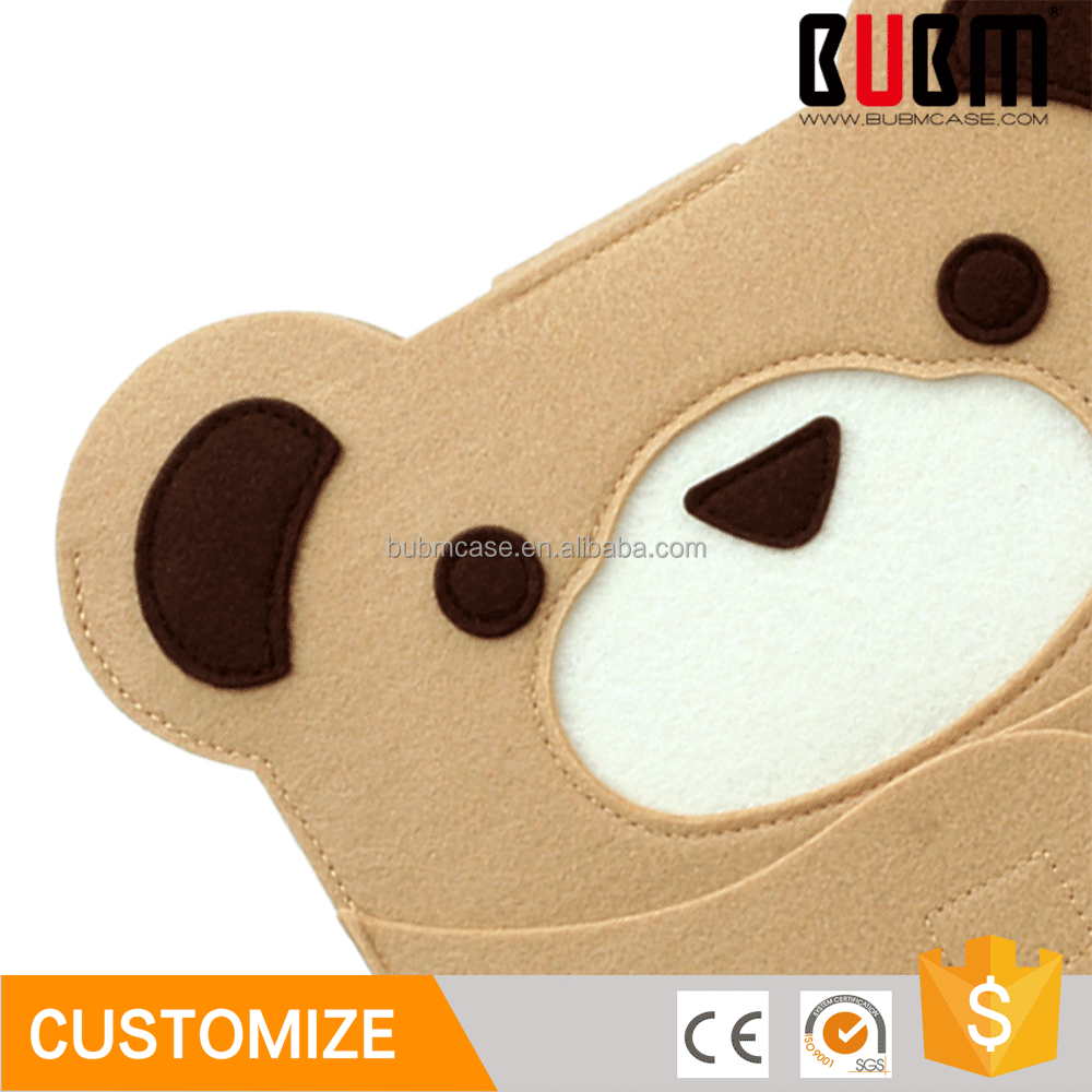 BUBM cute brown bear shaped 7.9 inch shockproof wool felt tablet pc case