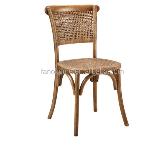 rattan back wood dining chair for restaurant