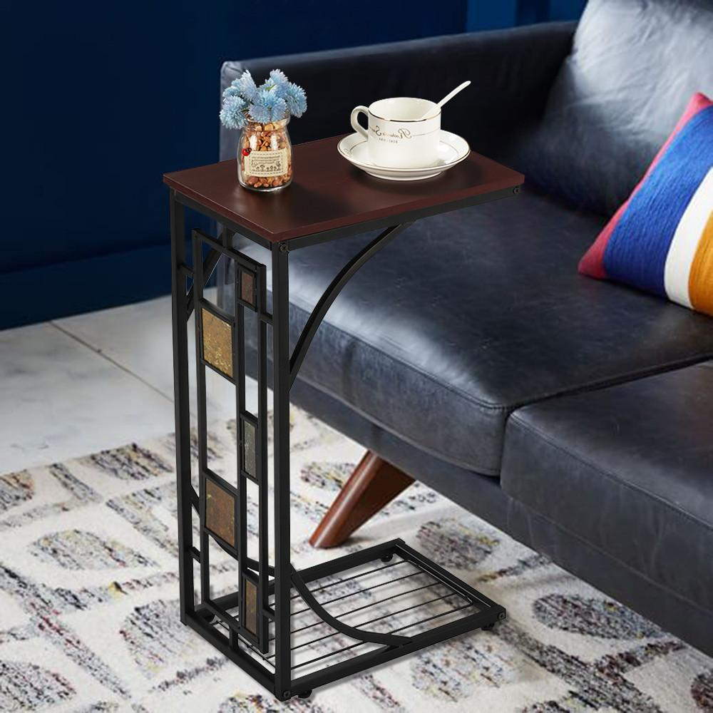 C Shaped Side Sofa Snack Table Coffee Tray End Table Living Room Under Sofa
