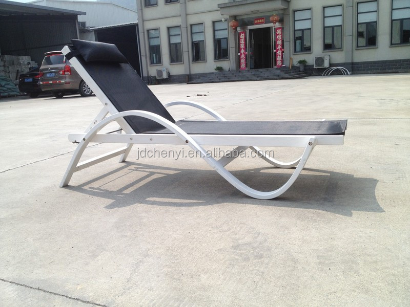 Solid wood Adjustable modern pool furniture sun bed pool chaise lounger chair sun bed in good quality and low price --ODF511