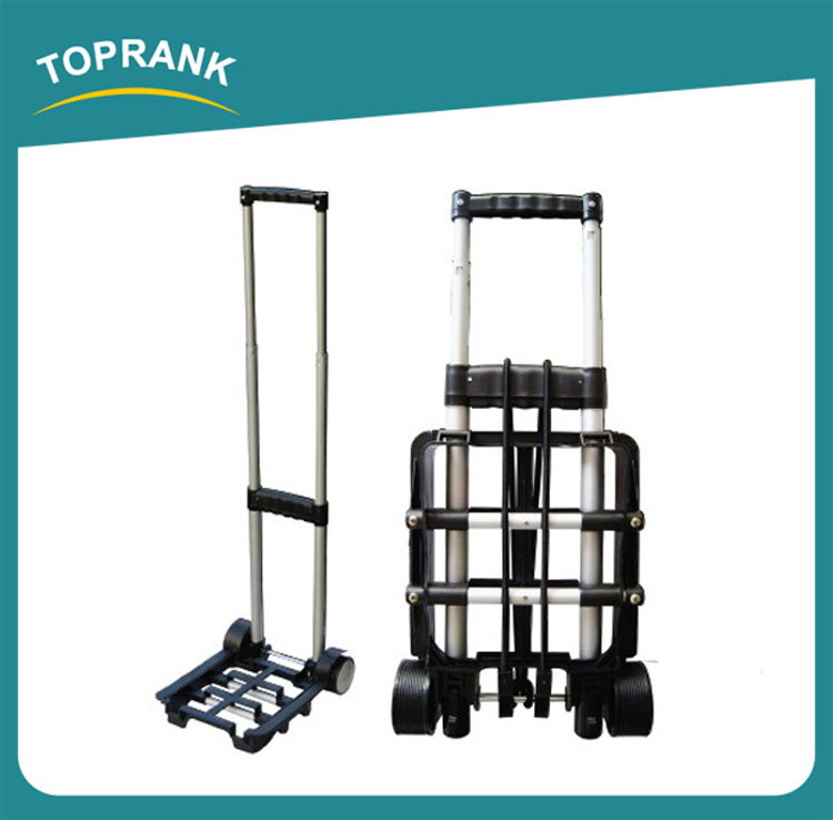 Toprank Portable Foldable Aluminum Used Hotel Airport Luggage Trolley Cart 30Kg Two-wheel Travel Luggage Cart
