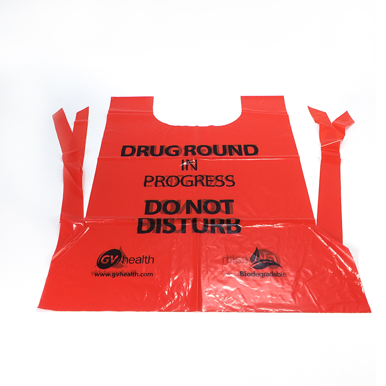 Disposable Plastic Surgical Apron, Logo Printed Disposable medical Plastic Aprons