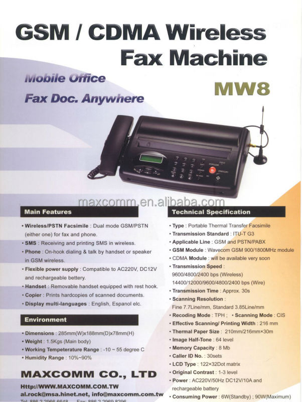 GSM WIRELESS FAX MACHINE with SIM Card slot mobile fax for vehicle