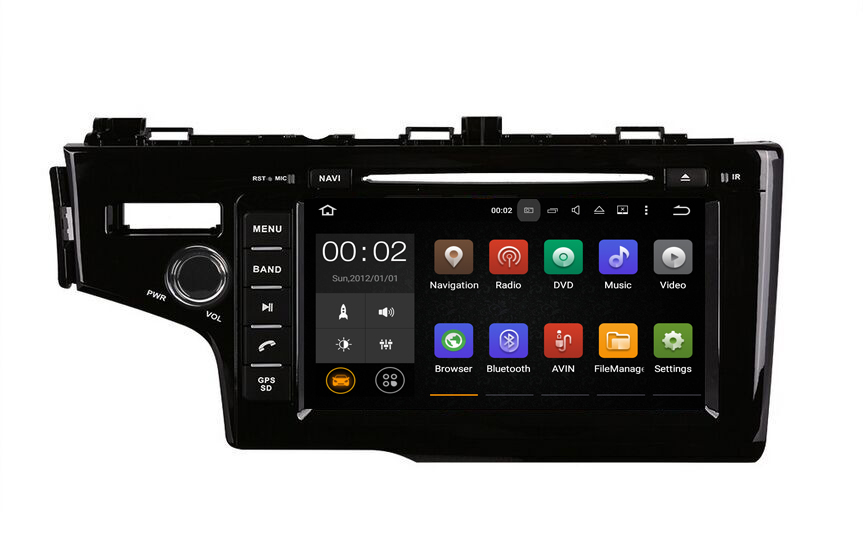 "9"" Touch Screen Car Stereo Audio GPS Navigation System CD DVD Player USB TV BT 3G WiFi DVD USB for Honda Fit 2014+ left"