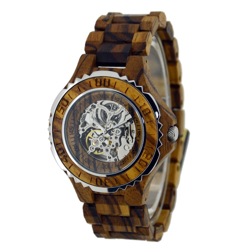 Zebra Wood Watches With Visible Mechanisim Men Luxury Brand Automatic Seagull Movement