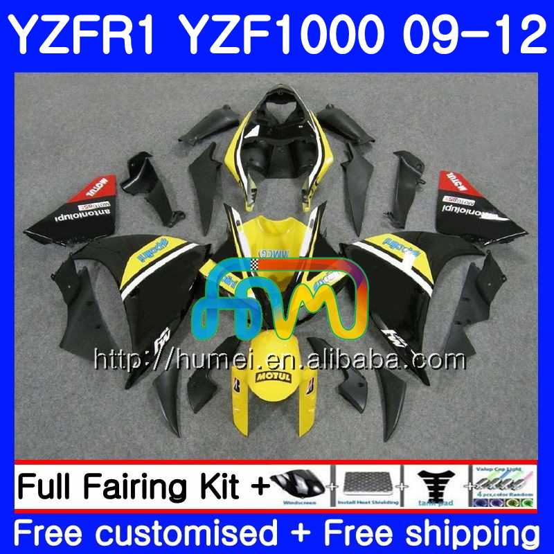 Body For YAMAHA YZF-<strong>R1</strong> YZF-1000 YZF <strong>R1</strong> <strong>09</strong> 10 11 12 Yellow black 104HM41 YZF1000 R 1 YZF 1000 YZFR1 2009 2010 2011 2012 Fairing