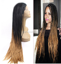 Synthetic African American Braided Wigs Long Two Tone Ombre Braiding Hair Lace Front Box Braid Wigs