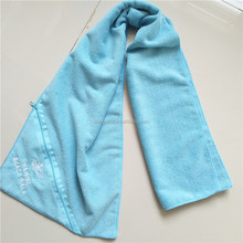 Microfiber Plain Dyed Color High Quality Gym Towel With Zipper Pocket