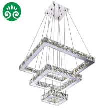 XingJun led chandelier ceiling lamp / stainless steel crystal square chandelier