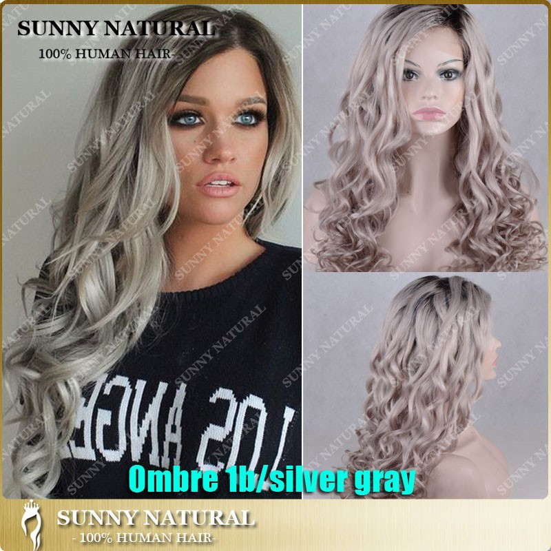 ombre gray human hair wigs with dark roots grey loose curly wave hair wigs Brazilian full lace wigs black women