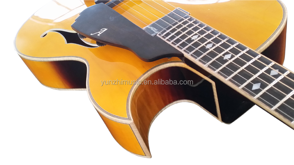 Archtop fully handmade solid wood Florentine cutaway electric guitar for sale