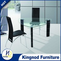 Tempered glass metal with PVC legs 2 person dining table