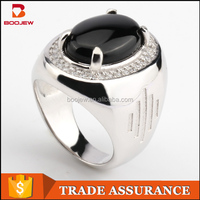 fashion arabic jewelry white gold plated black agate natural stones jewelry making men silver ring