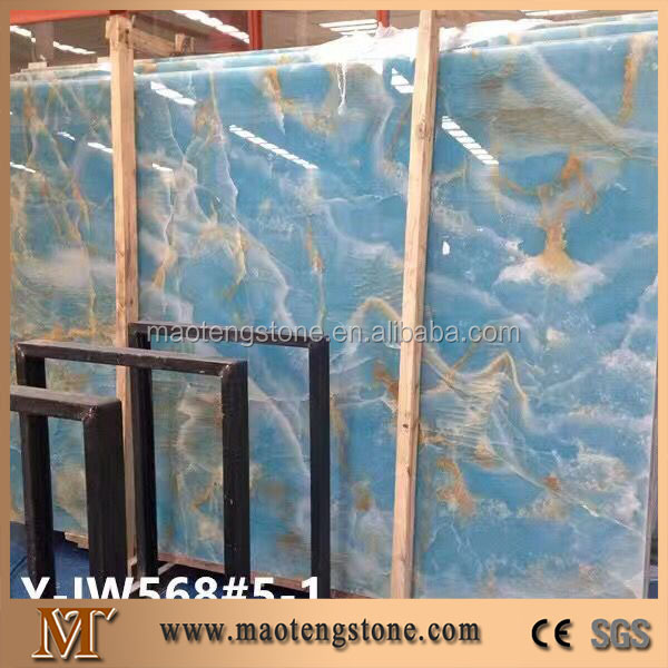 Natural popular marble stone type blue onyx slab