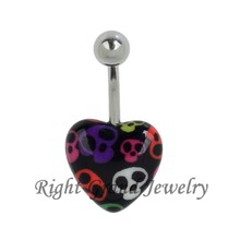 Unique Heart Shaped Belly Ring Skull Print Acrylic Navel Ring