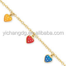 Children's Adjustable 14K Gold Colorful Heart Charm Bracelet gold jewelry manufacturers
