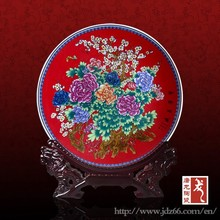 Year-end gifts handpainted colorful flowers antique ceramic plates for hot sale