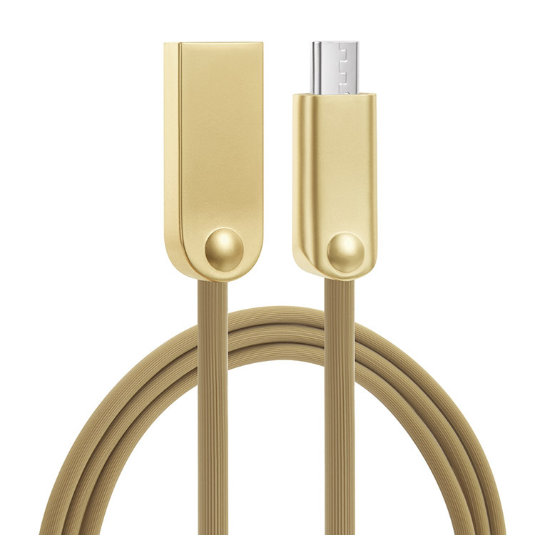 Metal hose zinc alloy cable micro usb cable for mobile phone