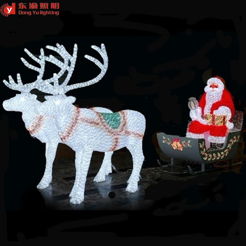 outdoor christmas decoration led lighted reindeer carriage abs or. Black Bedroom Furniture Sets. Home Design Ideas