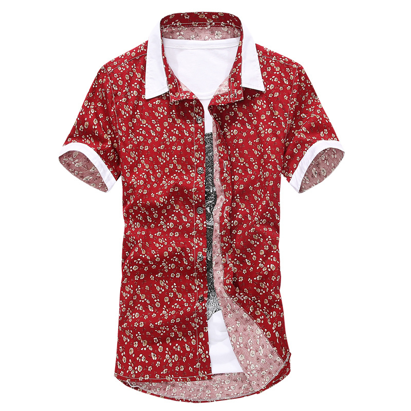 2015 New Arrival Floral Men Shirts Designer Brand Short Sleeve Cotton Fashion Slim Business Dress Casual Shirts 15B66