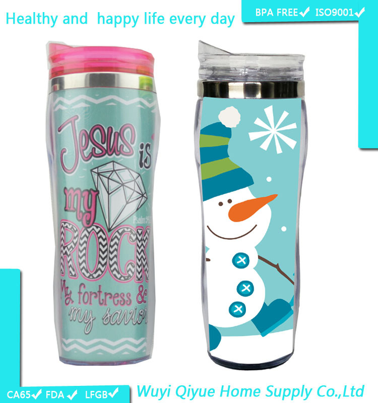 beach cup holder, sports BPA free double wall 450ml tumbler, tube-cup