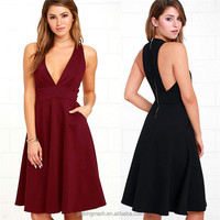 2018 new design fashion clothes casual wear women v neck dress summer lady dress