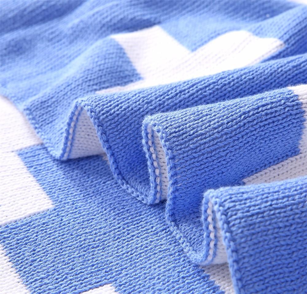 100% Organic Cotton Cross Pattern Knitted Blanket For Baby,Crochet Blanket - ...