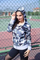 womens zip up with hood cotton fashion camo jacket