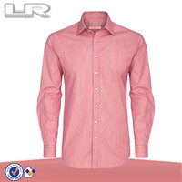 2014 Wholesale Pink Striped Printed Slim Fashion Office Men Formal Business 100% Cotton Blouse & Shirt Design